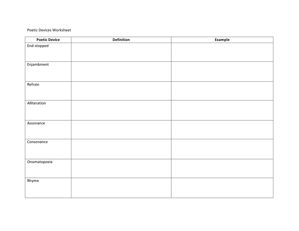 Printables Analyzing A Poem Worksheet poetry devices worksheet ericksons english picture